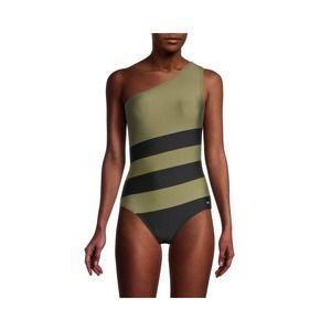 DKNY Colorblock One Shoulder Swimsuit NWT